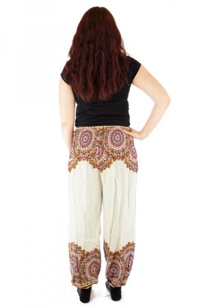 Pantaloni tip salvar femei mandala orientala albi - Jazmin2