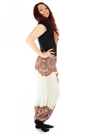 Pantaloni tip salvar femei mandala orientala albi - Jazmin1