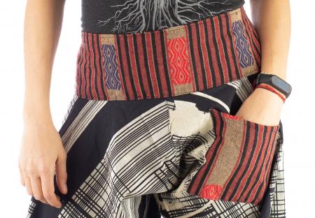 Pantaloni tip salvari full print - Linii Gri2