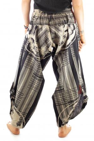 Pantaloni tip salvari full print - Linii Gri6
