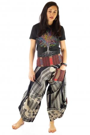 Pantaloni tip salvari full print - Linii Gri1