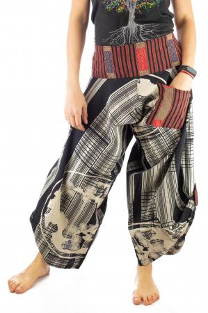 Pantaloni tip salvari full print - Linii Gri0