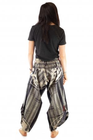 Pantaloni tip salvari full print - Linii Gri5