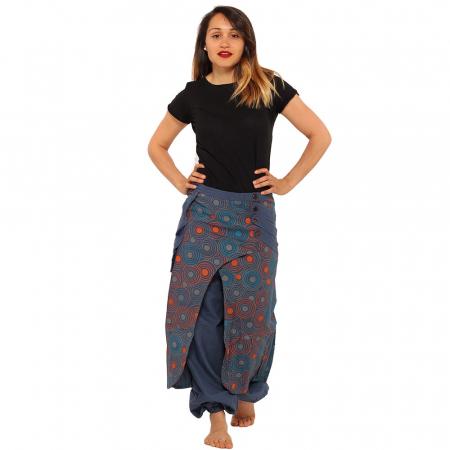 Salvari fusta/pantalon cu cercuri - Albastru portocaliu1