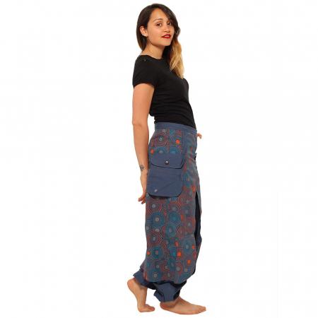 Salvari fusta/pantalon cu cercuri - Albastru portocaliu4