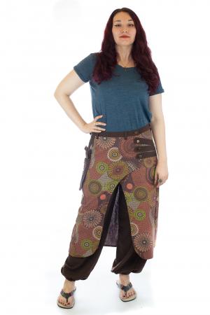 Salvari fusta/pantalon cu print abstract - Maro [0]