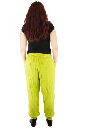 Pantaloni pentru femei creponati verzui JKT1083