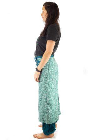 Salvari fusta/pantalon cu print floral - Albastru Deschis3