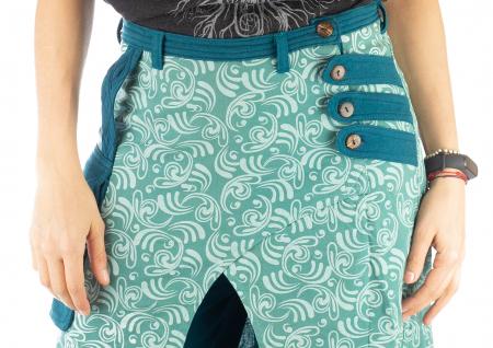 Salvari fusta/pantalon cu print floral - Albastru Deschis2
