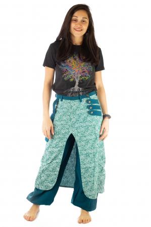 Salvari fusta/pantalon cu print floral - Albastru Deschis0
