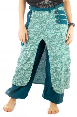 Salvari fusta/pantalon cu print floral - Albastru Deschis1