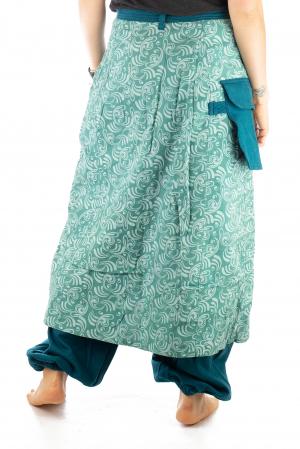 Salvari fusta/pantalon cu print floral - Albastru Deschis6