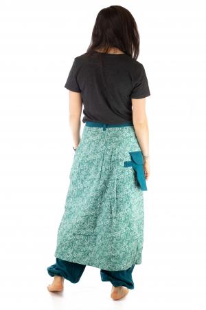 Salvari fusta/pantalon cu print floral - Albastru Deschis5