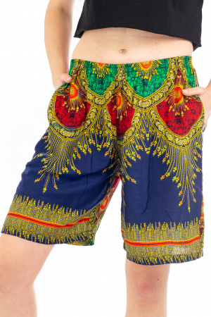 Pantaloni cu banda elastica si motive tip paun - Albastru [0]