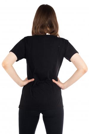 Tricou negru cu broderie florala [3]