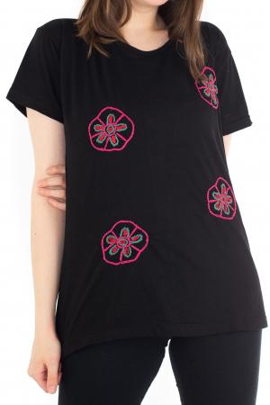 Tricou negru cu broderie florala [0]