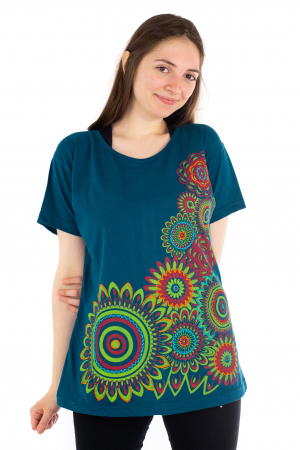 Tricou albastru - Green Mandala [1]