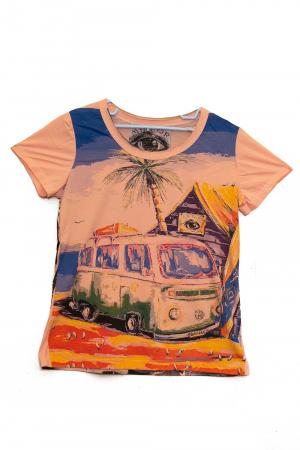 Tricou Hippie Volkswagen - Crem - Dame0