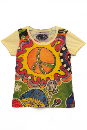 Tricou Hippie Mushrooms - Galben - Dame0