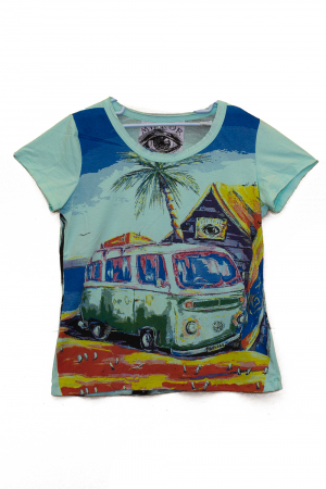 Tricou Hippie Volkswagen - Turcoaz - Dame [0]