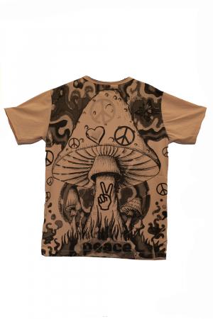Tricou Mushroom Peace - Crem - Marimea M [1]