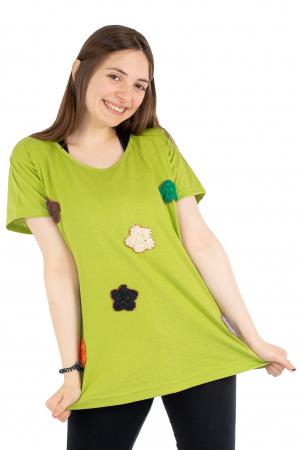Tricou verde cu floricele brodate [4]