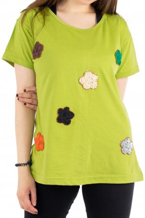 Tricou verde cu floricele brodate [0]