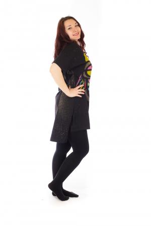 Tricou negru tip tunica cu o Bufnita4