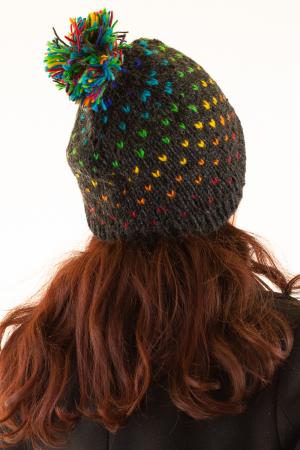 Caciula din lana cu ciucure - Rainbow Dots4