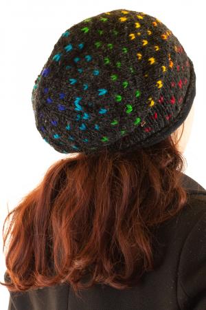 Caciula lunga din lana - Rainbow Dots1