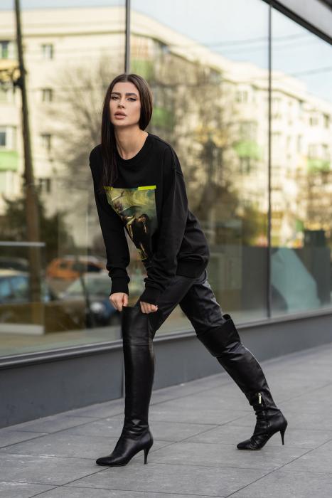 Bluza Imprimata Oversized Easy-Fit Black [3]