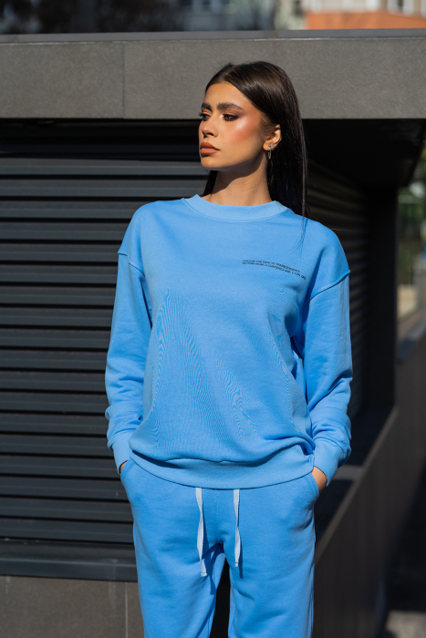 Bluza Easy-Fit Oversized Aqua Blue [0]