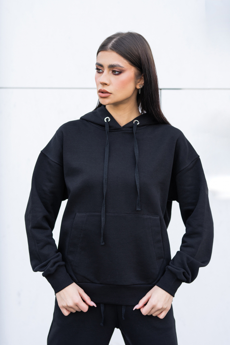 Hanorac Oversized Easy-Fit Imprimat Black [2]