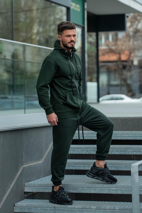 Set Rock-Fit hanorac si pantalon lejer dark green [4]