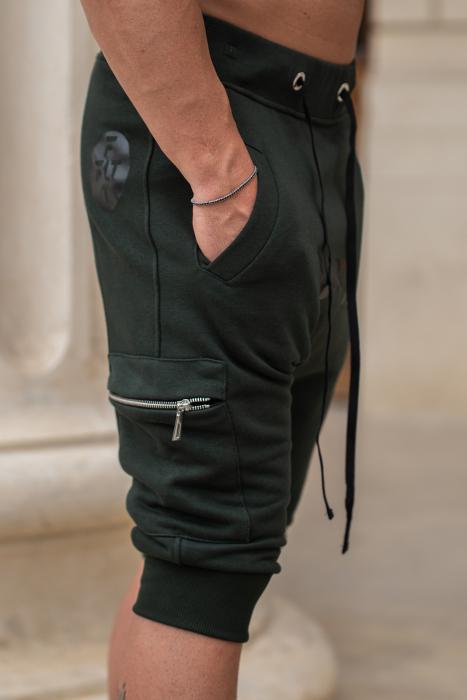 Pantalon Scurt Cargo conic cu turul lasat dark green [5]