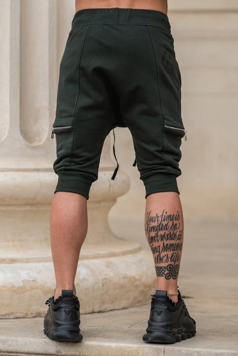 Pantalon Scurt Cargo conic cu turul lasat dark green [2]