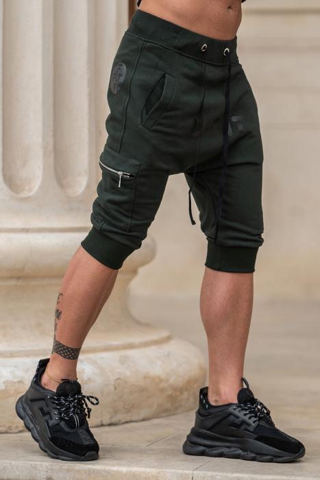Pantalon Scurt Cargo conic cu turul lasat dark green [1]