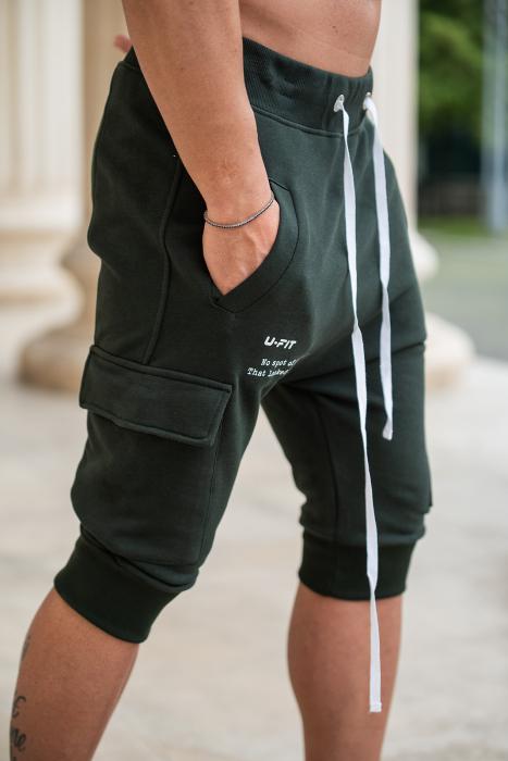 Pantalon Scurt Cargo cu turul lasat Dark Green [3]