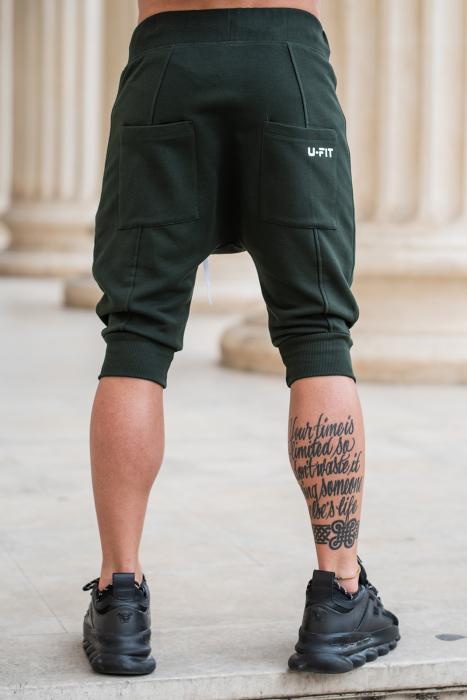 Pantalon scurt cu tur lasat Dark Green [2]