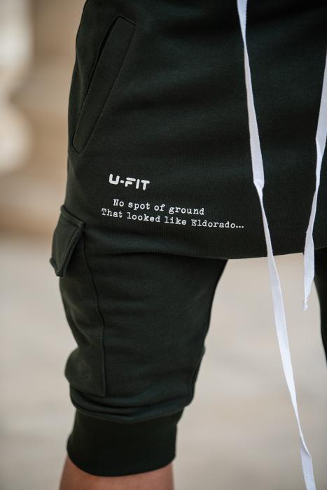 Pantalon Scurt Cargo cu turul lasat Dark Green [9]