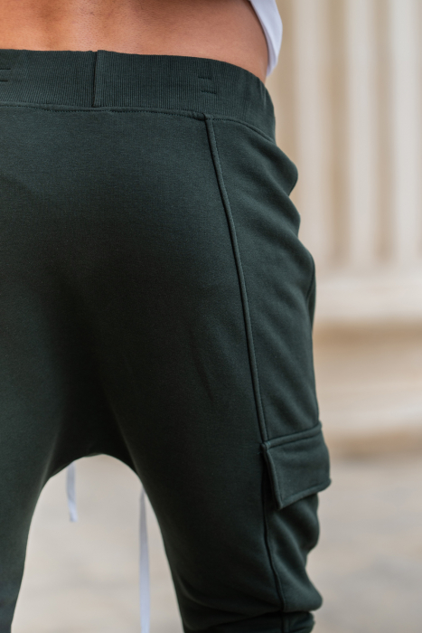 Pantalon Scurt Cargo cu turul lasat Dark Green [11]