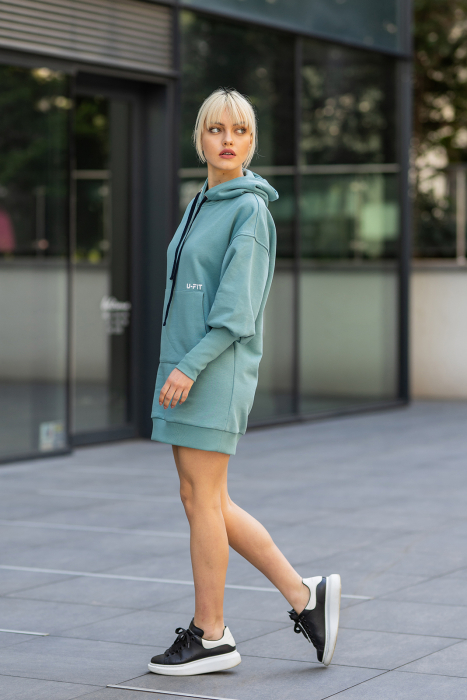 Rochie So Kate din Bumbac cu Gluga Dusty Turquoise [2]
