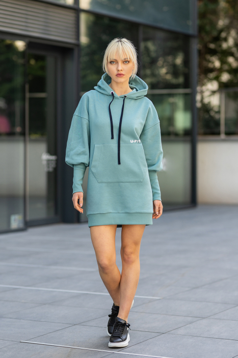 Rochie So Kate din Bumbac cu Gluga Dusty Turquoise [1]