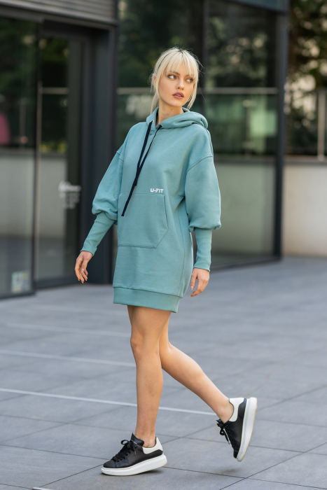 Rochie So Kate din Bumbac cu Gluga Dusty Turquoise [0]