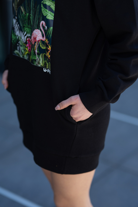 Rochie Kate din Bumbac fara gluga Black [7]