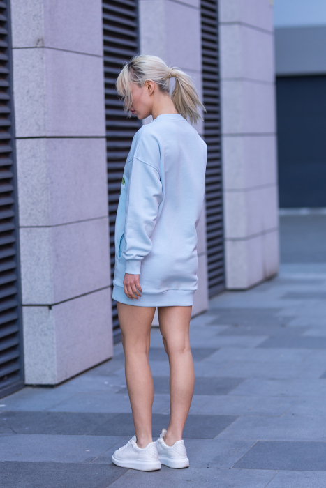 Rochie Kate din Bumbac fara gluga Sky Blue [8]