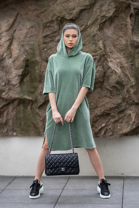 Rochie Catifea Velvet Wind Green Olive [5]