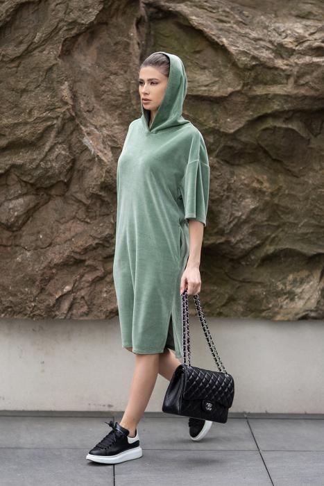 Rochie Catifea Velvet Wind Green Olive [6]