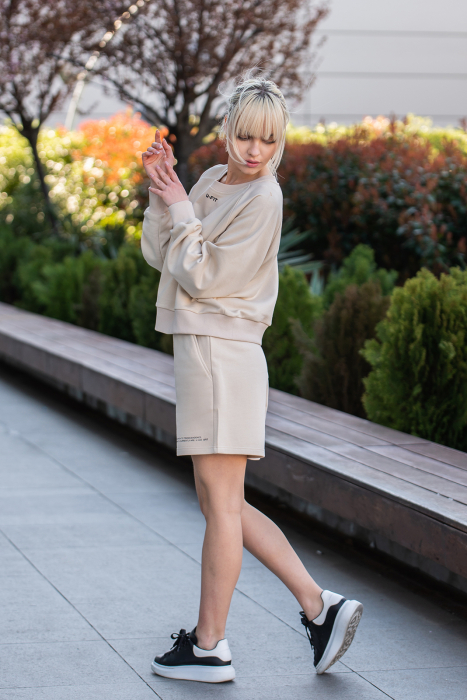 Set Elise Bluza si Pantalon Scurt Light Beige [4]