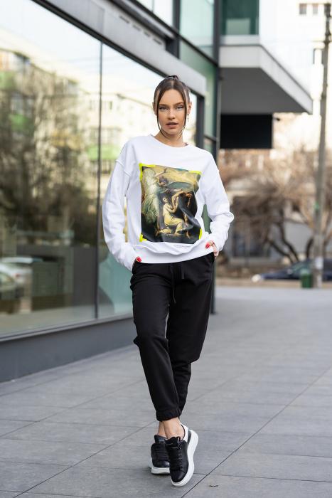 Set bluza imprimata si pantalon Oversized Easy-Fit Off White/Black [0]